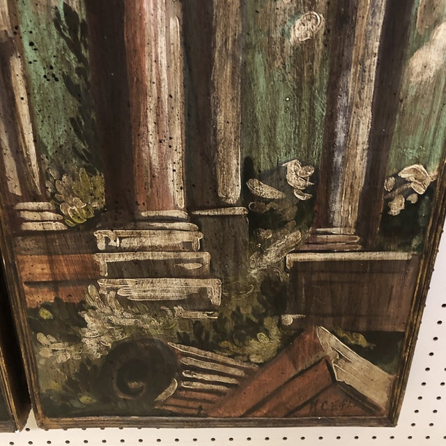 Vintage Mid Century Hand Painted Classical Ruins Panels- A Pair For Sale In Richmond - Image 6 of 10