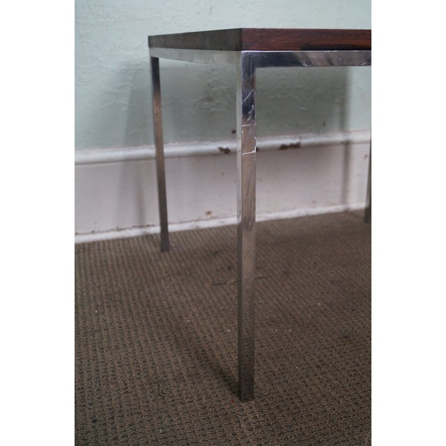 Mid-Century Square Chrome Rosewood Side Table - Image 7 of 10