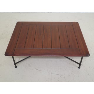 Traditional Cherry Top Iron Base Coffee Table Preview