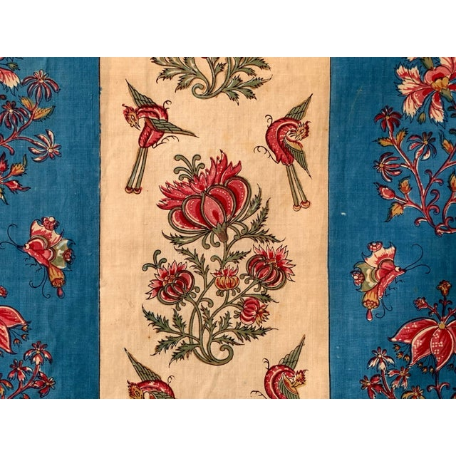 """Textile Antique French Fabric Floral And Stripe Indienne Fabric - 25.5x65.75"""" For Sale - Image 7 of 11"""