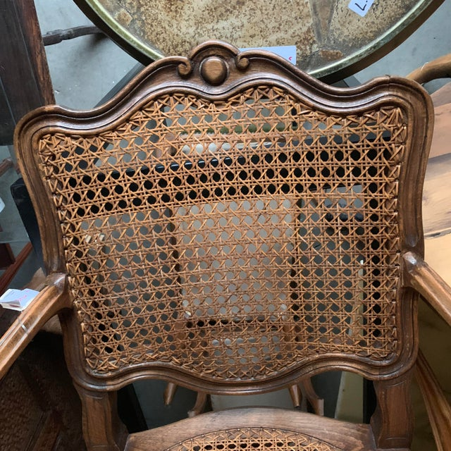 Early 20th Century French Louis XV Style Walnut Caned Fauteuils- a Pair For Sale - Image 11 of 13