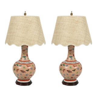 Pair Chinese Porcelain Lamps With Butterflies For Sale