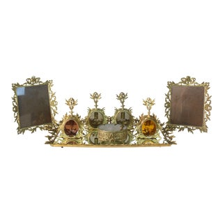 Hollywood Regency Glass Decanters and Picture Frame Vanity Set - 8 Pieces For Sale