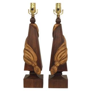 Hollywood Regency Linen Tassel Lamps - Pair For Sale