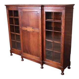 Antique English Carved Oak Triple Bookcase, Circa 1900 For Sale