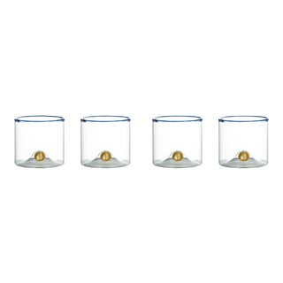 Golden Globe Double Old-Fashioned Glass with Blue Trim - Set of 4 For Sale