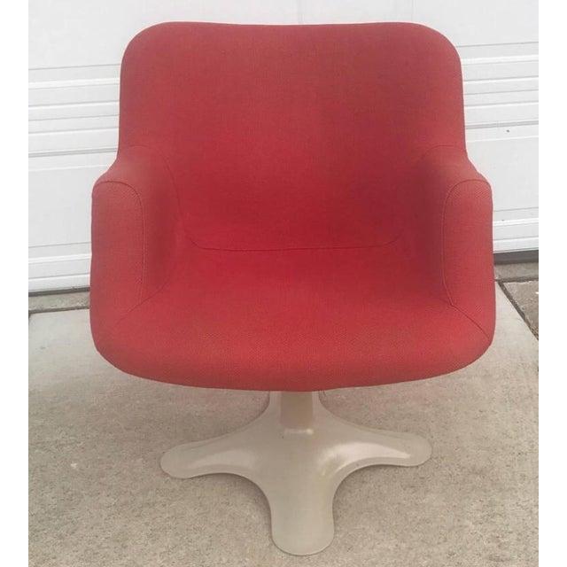 Yrjo Kukkapuro Sculptural Red Fiberglass Swivel Chair For Sale - Image 5 of 6