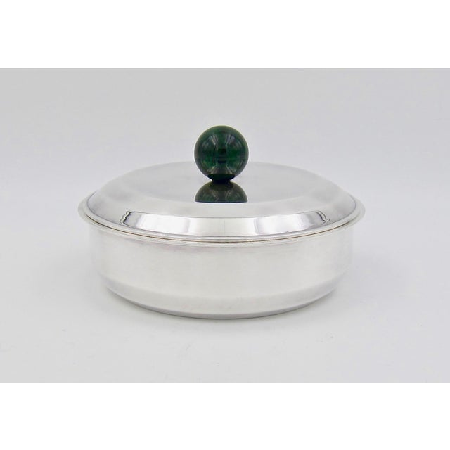 Puiforcat French Art Deco Silver-Plate Bonbonniere Box With Green Enamel Finial For Sale - Image 12 of 13