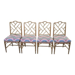 1980s Natural Color Solid Wood Chinese Chippendale Dining Chairs - Set of 4 For Sale