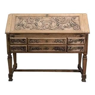 19th Century French Louis XIV Stripped Oak Secretary For Sale
