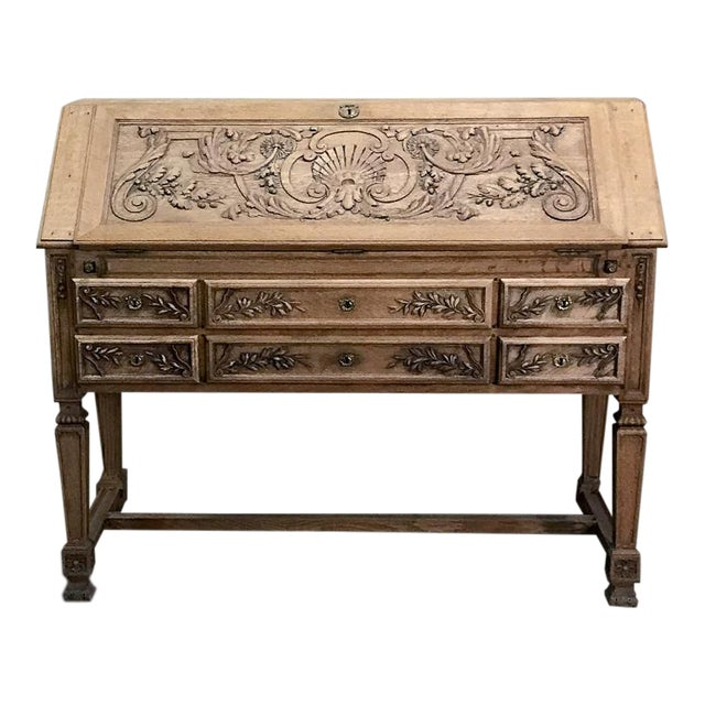 19th Century French Louis XIV Stripped Oak Secretary For Sale