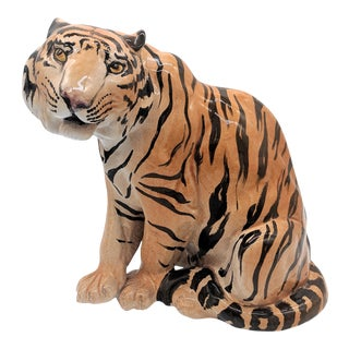 20th Century Italian Terra Cotta Tiger Figurine For Sale