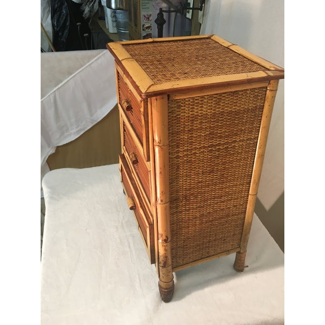 Late 20th Century Vintage Rattan and Bamboo Nightstand For Sale - Image 5 of 7