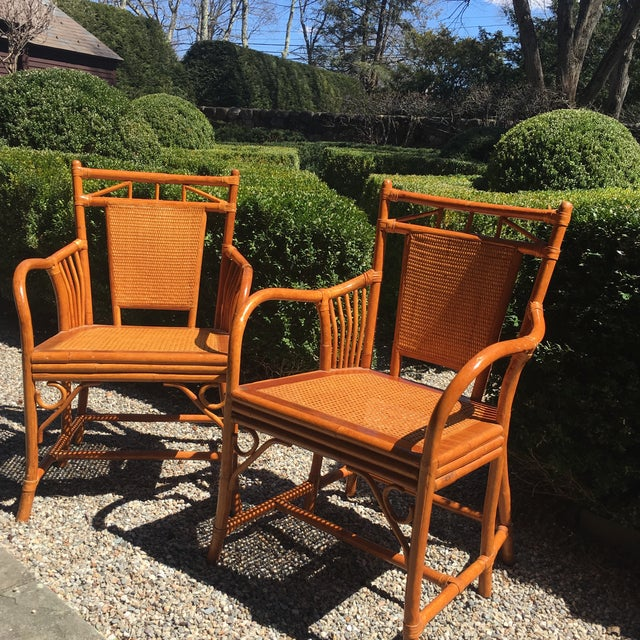 Palecek Cane Seat Armchairs - a Pair For Sale - Image 9 of 11