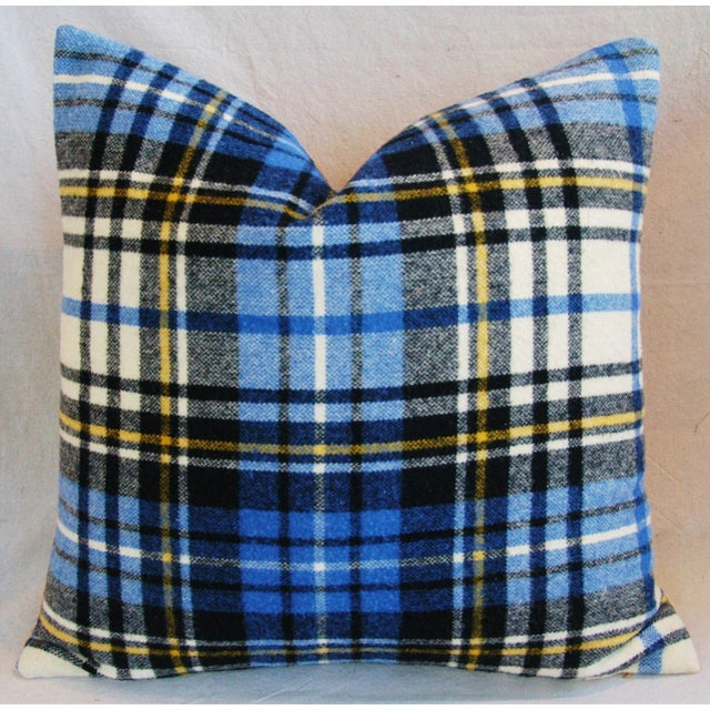 """Vintage Scottish Tartan Plaid Wool Feather/Down Pillows 24"""" Square - Pair For Sale - Image 4 of 11"""