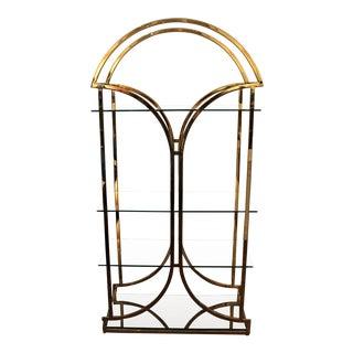 Vintage Mid Century Brass Chrome Glass Shelf Etagere Display Milo Baughman For Sale