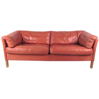 Danish Modern Love Seat in Leather by Børge Mogensen For Sale