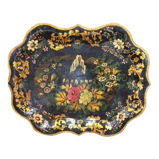 Antique Hand-Painted Tin Tray