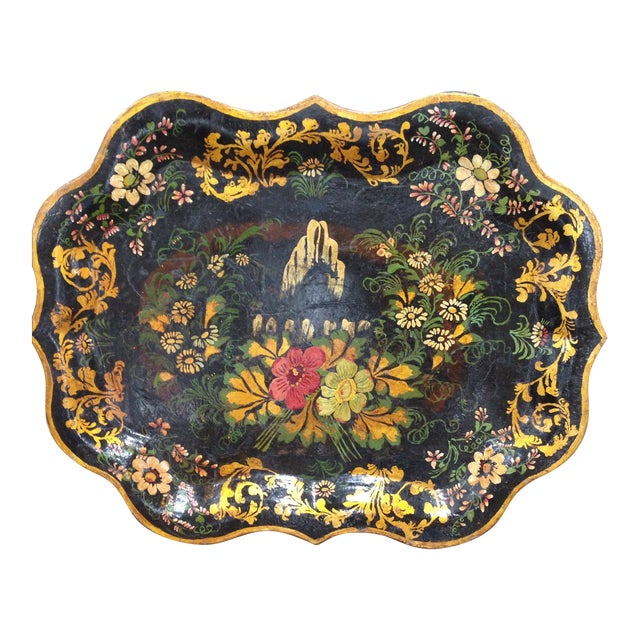 Antique Hand-Painted Tin Tray For Sale
