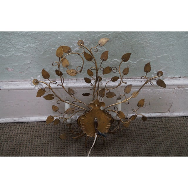 Vintage Italian Gilt Metal & Flower Wall Sconce - Image 9 of 10