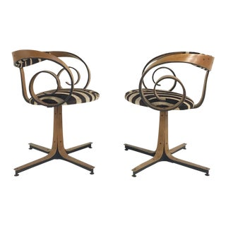 George Mulhauser for Plycraft Sultana Chairs Restored in Zebra Hide - Pair For Sale