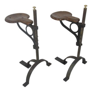 1930s Vintage English Industrial Stools - a Pair