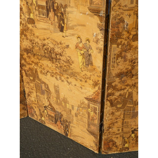 Vintage French Country Yellow 3 Panel Folding Screen - Image 10 of 11