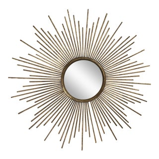 Contemporary Brass Sunburst Mirror For Sale