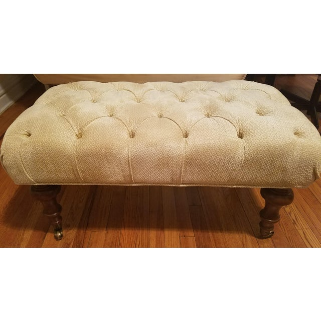 Classic Neutral Upholstered Ottoman - Image 2 of 4