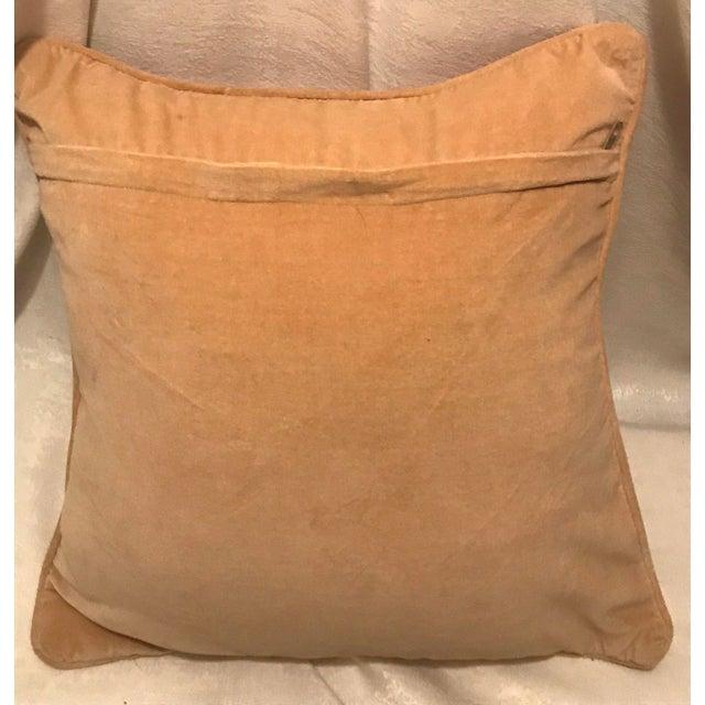 Jonathan Adler Style Vintage Geometric Red Cream Needlepoint Pillow - Image 4 of 5