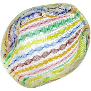 Archimede Seguso Murano White Rainbow Twisting Ribbons Italian Art Glass Bowl For Sale