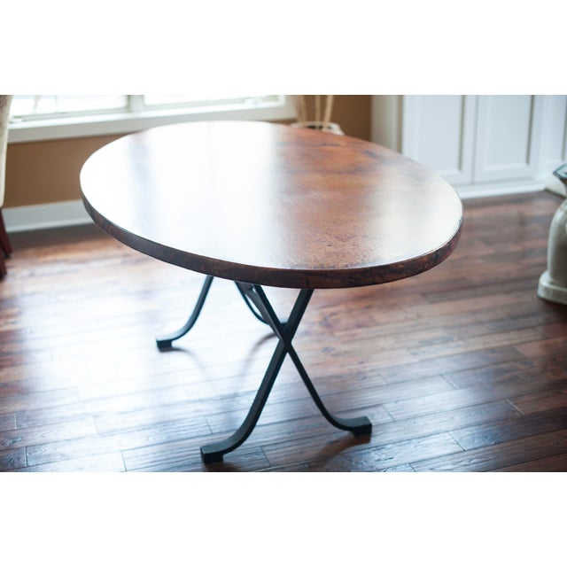 Arhaus Oval Copper Dining Table W/ Cast Iron Legs - Image 3 of 8