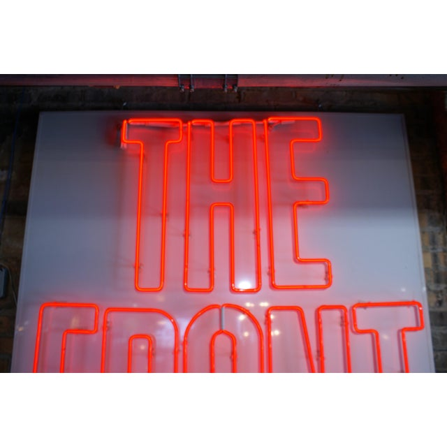 "Created for the 1986 revival of ""The Front Page,"" by Hecht and McArthur. Neon is backed by an aluminum panel. Each word..."