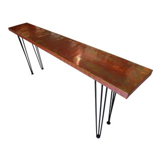 Mid-Century Modern Handmade Copper Clad Console Table For Sale
