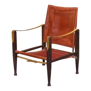 1930s Vintage Kaare Klint for Rud Rasmussen Red Leather Safari Chair For Sale