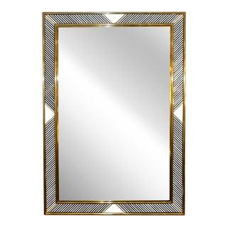 Italian Regency Moderne Brass Geometric Mirror For Sale