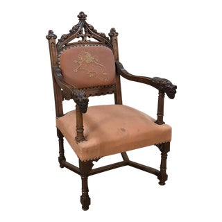 19th Century French Gothic Walnut Armchair With Embroidery For Sale