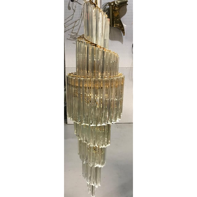 Italian Mid-Century Modern Spiral Glass Chandelier For Sale In New York - Image 6 of 11