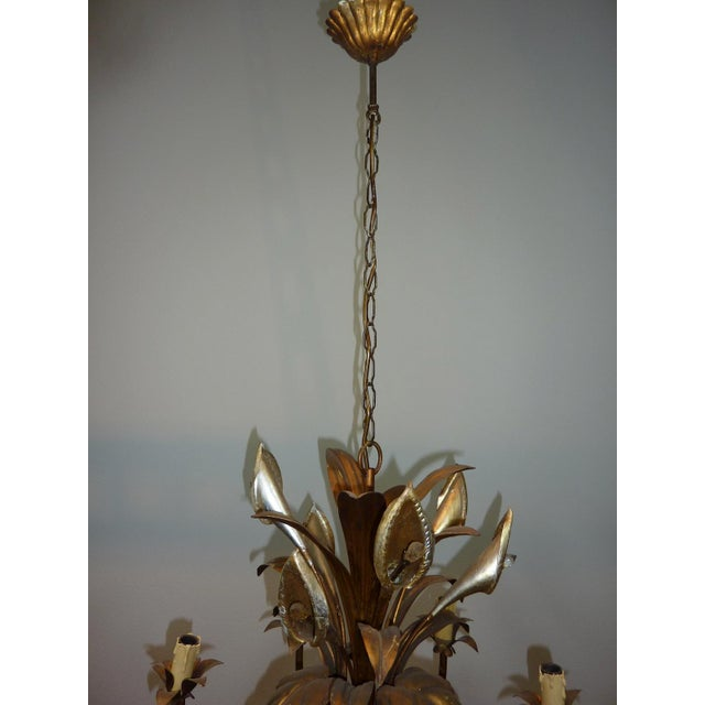 Italian Calla Lily 6-Light Gilded Chandelier - Image 7 of 7