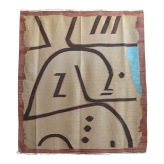 Paul Klee - Wi (In Memoriam) 1938 - Inspired Silk Hand Woven Area - Wall Rug 4′7″ × 5′1″ For Sale
