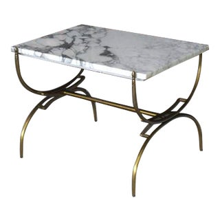 Solid Brass Marble Top Arch Shape Legs Side Table For Sale