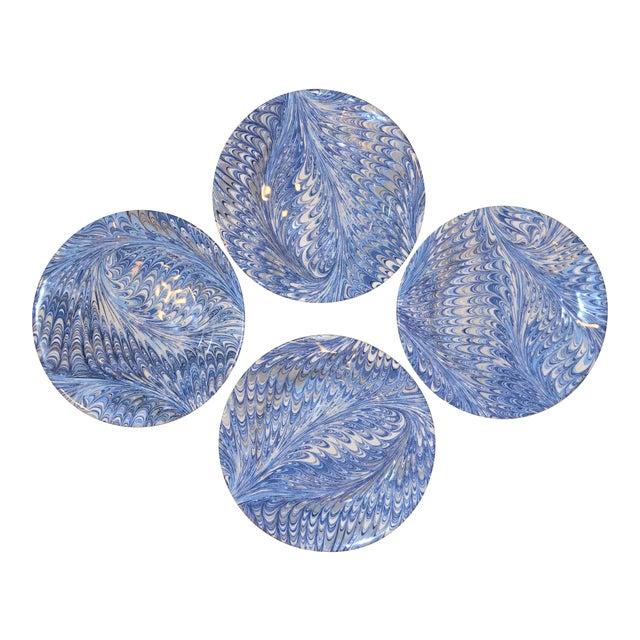 Delft Blue Firenze Marbleized Ceramic Cocktail Plates - Set of 4 For Sale