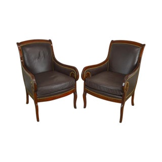 Hickory Chair Solid Mahogany & Brown Leather Charles X Pair of Club Chairs For Sale