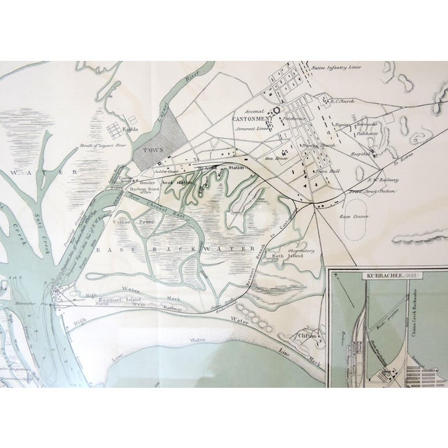 British Colonial era navigational map of the riverine approaches to the city of Karachi, (now Pakistan) from the Arabian...