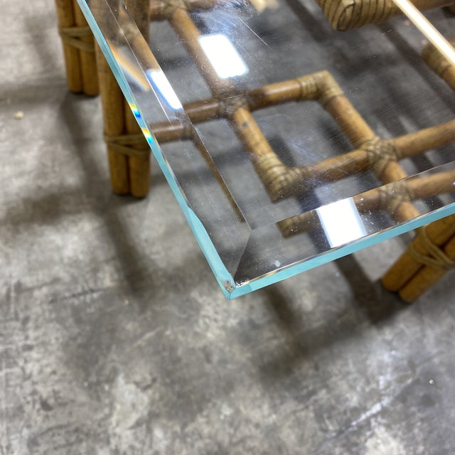 McGuire Bamboo Brass Glass Coffee Table For Sale - Image 10 of 12