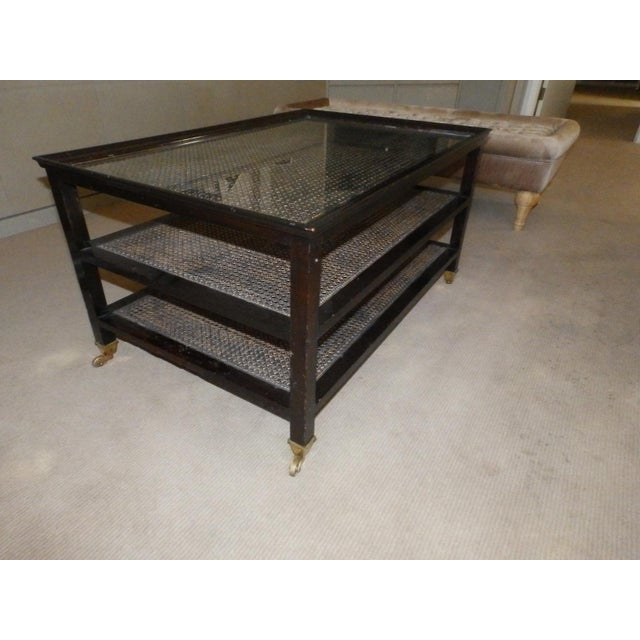 20th Century Hollywood Regency Caned 3-Tier Wood Frame Cocktail Table on Castors For Sale - Image 4 of 8