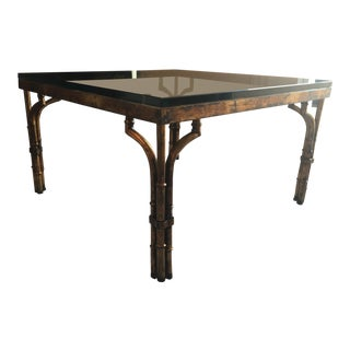 20th Century Chippendale Gilt Faux Bamboo Coffee Table For Sale