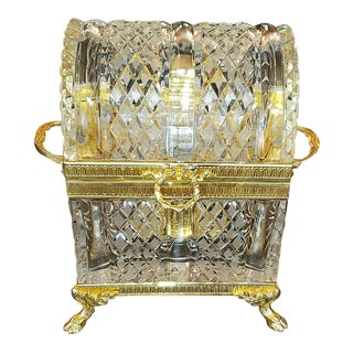 Baccarat Louis XVI Style Domed Crystal Decanter Box - Set of 8 For Sale