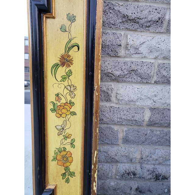 Glass Vintage Italian Hand Painted Mirror For Sale - Image 7 of 13