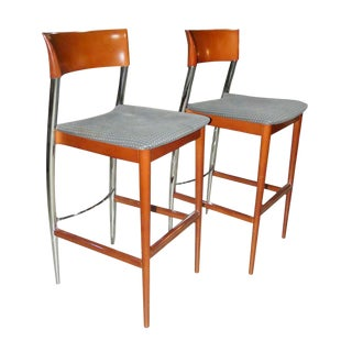1970s Contemporary Loewenstein Wood Bar Stools - a Pair